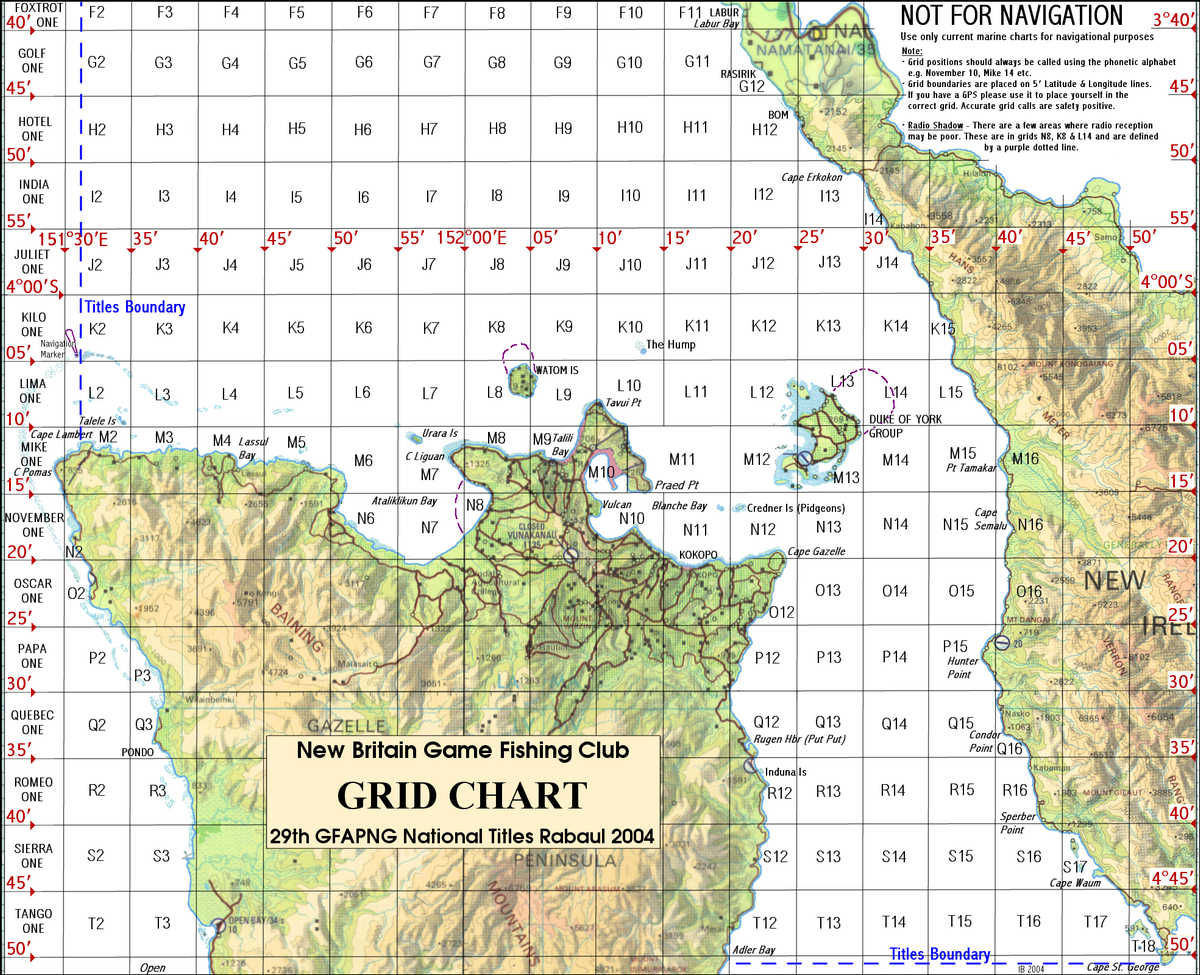 GFAPNG 29th National Titles Grid Map